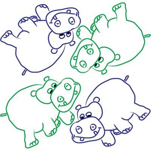 Blue and Green Hippos