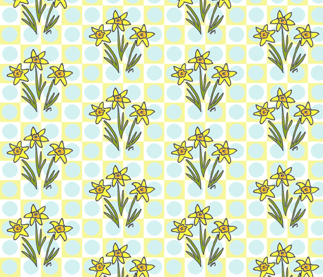 My Three Daffodils fabric by kdl on Spoonflower - custom fabric