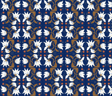 magnolia_blue fabric by antoniamanda on Spoonflower - custom fabric