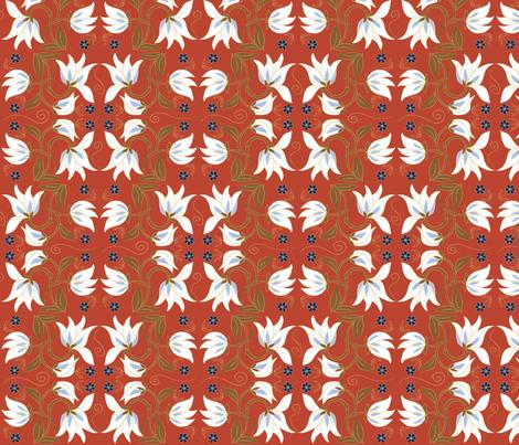 magnolia_red fabric by antoniamanda on Spoonflower - custom fabric