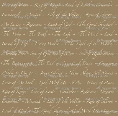 'Names of Jesus' on Khaki