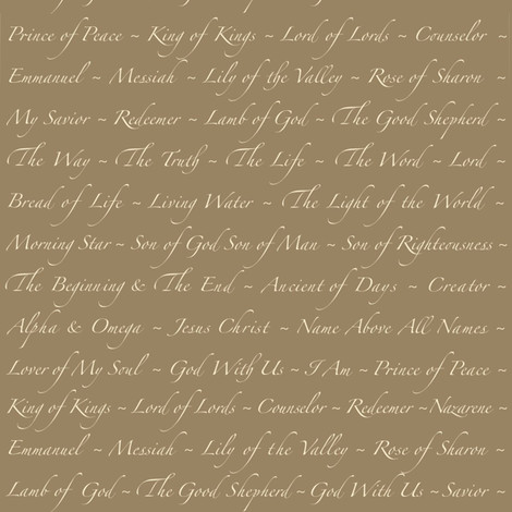 'Names of Jesus' on Khaki fabric by petals_fair_(peggy_brown) on Spoonflower - custom fabric