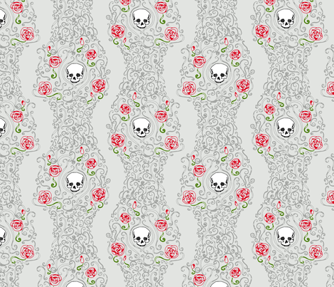 Where the Wild Roses Grow (Light Grey) fabric by leighr on Spoonflower - custom fabric