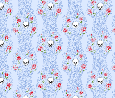 Where the Wild Roses Grow (Light Blue) fabric by leighr on Spoonflower - custom fabric