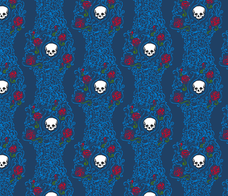 Where the Wild Roses Grow (Dark Blue) fabric by leighr on Spoonflower - custom fabric