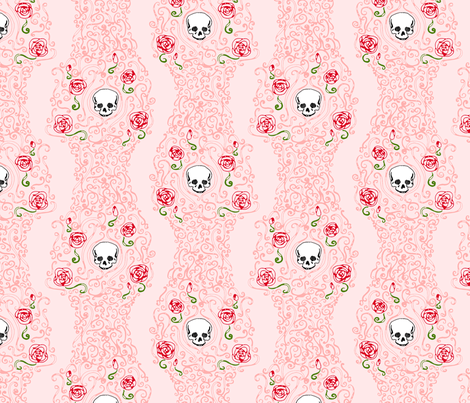 Where the Wild Roses Grow (Pink) fabric by leighr on Spoonflower - custom fabric