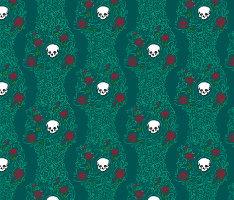 Where the Wild Roses Grow (Dark Green) fabric by leighr on Spoonflower - custom fabric