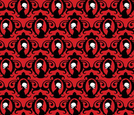 Flourish Red fabric by thirdhalfstudios on Spoonflower - custom fabric