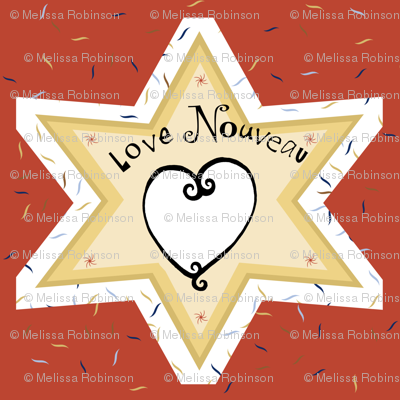 New Love - Fun whimsical Americana take on Art Nouveau style