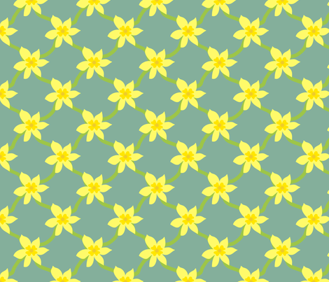 Daffodil Grid fabric by leeleeandthebee on Spoonflower - custom fabric