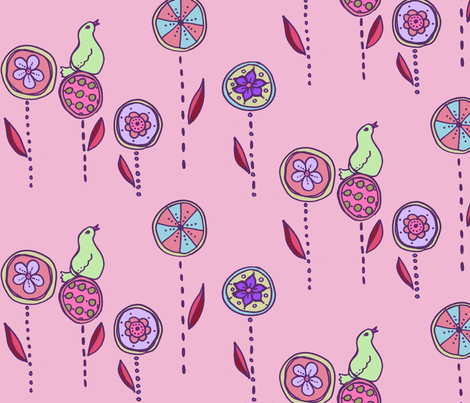 bird in a flower garden pink fabric by katrina_whitsett on Spoonflower - custom fabric
