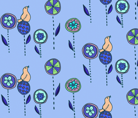 bird in a flower garden fabric by katrina_whitsett on Spoonflower - custom fabric