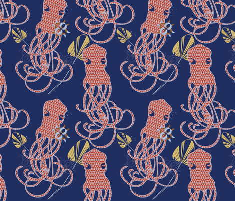 Art Nouvoctopus fabric by memory on Spoonflower - custom fabric