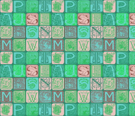 Art Nouveau Alphabet-3 fabric by lacefairy on Spoonflower - custom fabric