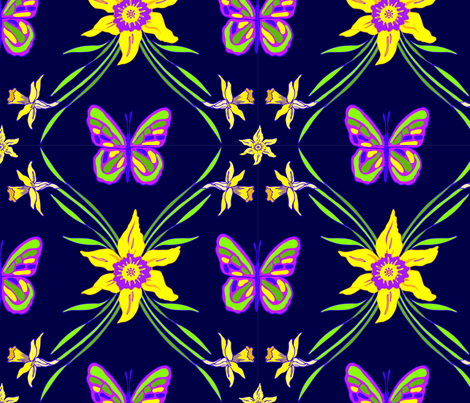 daffodil_in_navy fabric by sorreldugan on Spoonflower - custom fabric