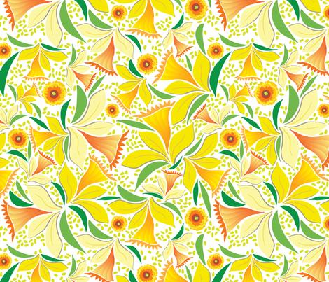 Happy Daffodils fabric by sammyk on Spoonflower - custom fabric