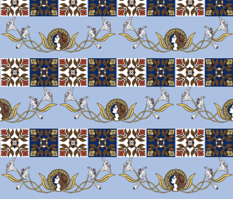 nouveau beauty blue fabric by mytinystar on Spoonflower - custom fabric