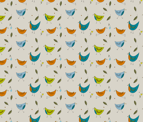 Fairytale Birds Bright Colourway fabric by phatsheepfabrics on Spoonflower - custom fabric
