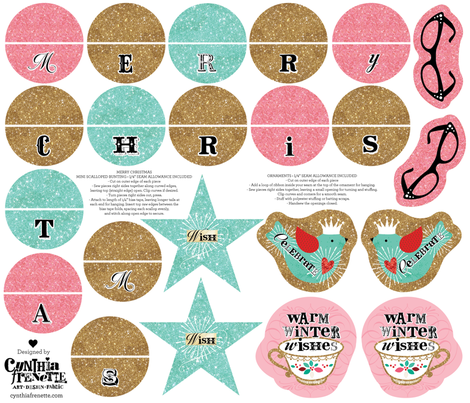 Shabby Glittery Ornaments and Mini Bunting fabric by cynthiafrenette on Spoonflower - custom fabric