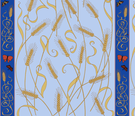 art_nouveau_wheat_and_border fabric by victorialasher on Spoonflower - custom fabric