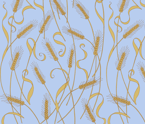 art_nouveau_wheat_tight fabric by victorialasher on Spoonflower - custom fabric