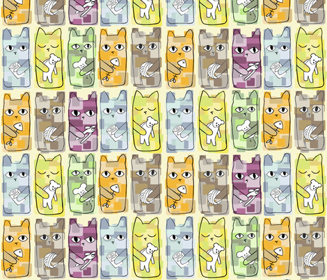 cats4cropped fabric by meredith_downs on Spoonflower - custom fabric