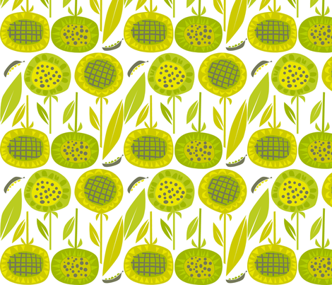 green_sunflowers fabric by antoniamanda on Spoonflower - custom fabric