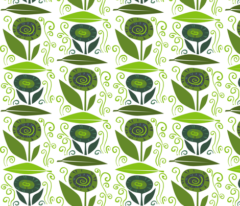 leaf_flower_swirl_G fabric by antoniamanda on Spoonflower - custom fabric