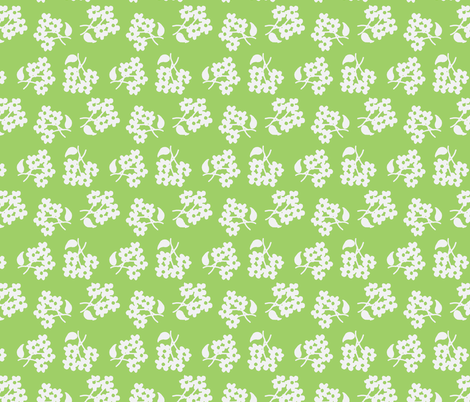 White flowers on spring green fabric by cricketnoel on Spoonflower - custom fabric