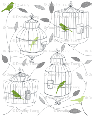 Green Birds and Cages