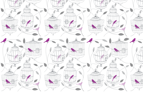 Purple Birds and Cages fabric by dorolimited on Spoonflower - custom fabric