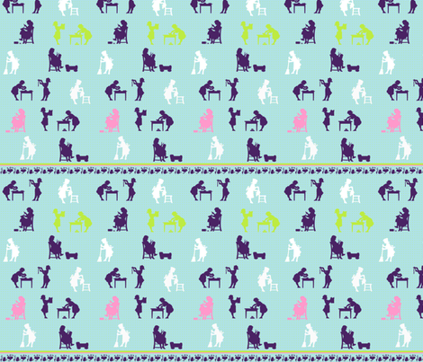 Vintage Busy Day Girls fabric by dentednj on Spoonflower - custom fabric