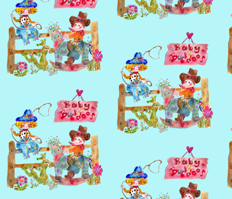 Baby Buckaroo Blue_ fabric by rosannahope on Spoonflower - custom fabric