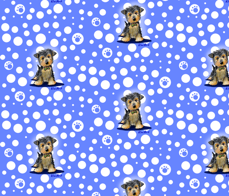 Large Yorkie Boy On Blue fabric by kiniart on Spoonflower - custom fabric