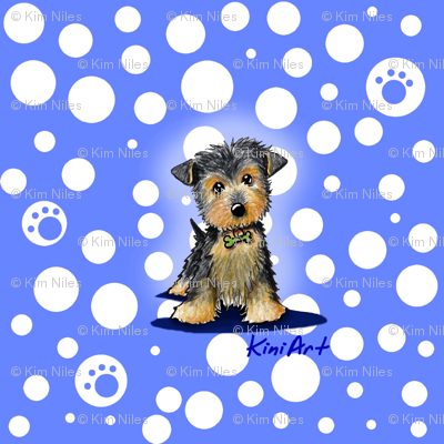 Small Yorkie Boy On Blue