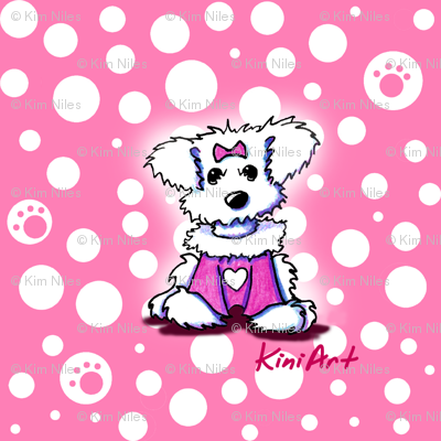 Small Maltese Sweetheart On Pink