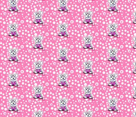 Small Maltese Sweetheart On Pink fabric by kiniart on Spoonflower - custom fabric