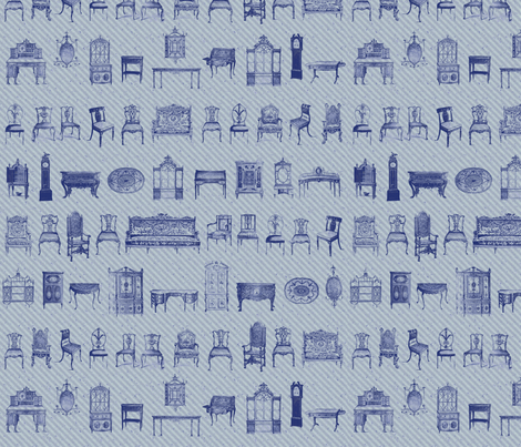 Furniture Lineup in Blues fabric by dentednj on Spoonflower - custom fabric