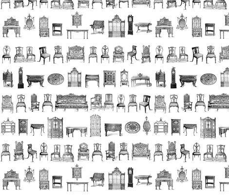 Furniture Lineup in black & white fabric by dentednj on Spoonflower - custom fabric