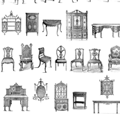 Furniture Lineup in black & white