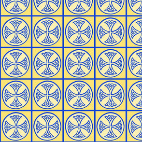 celtic cross tile blue and gold