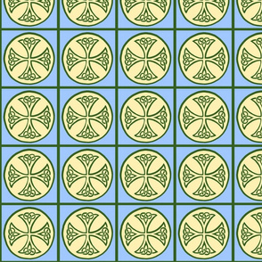 celtic cross tile green and blue