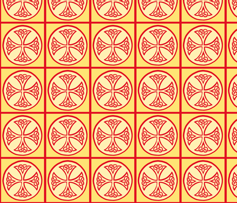 celtic cross tile red and gold fabric by ingridthecrafty on Spoonflower - custom fabric