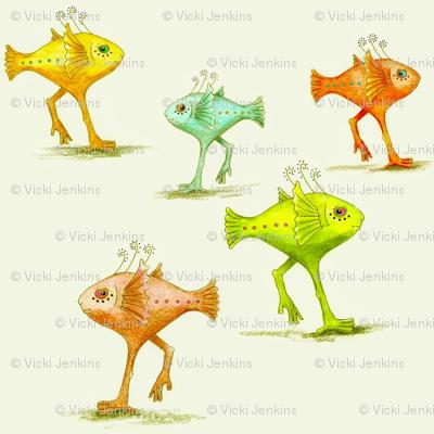 Walking Fish pattern 1, large repeat