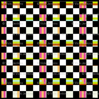 Walking Fish pattern 5: black check