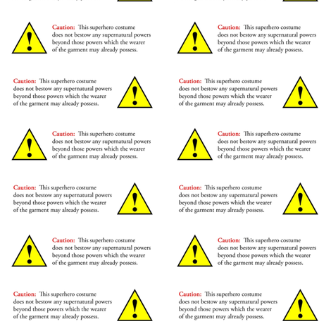 superhero warning labels fabric by weavingmajor on Spoonflower - custom fabric
