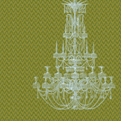 Chandelier Green Flame 22x22