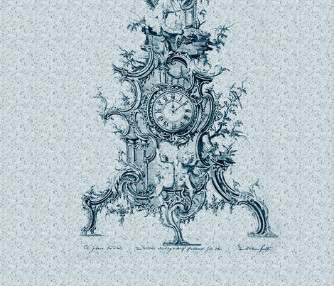 18th Century Clock 22x22 fabric by dentednj on Spoonflower - custom fabric