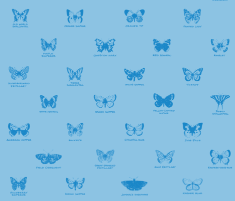 butterfly alphabet - light blue fabric by weavingmajor on Spoonflower - custom fabric