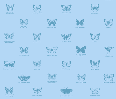 butterfly alphabet - pale blue fabric by weavingmajor on Spoonflower - custom fabric